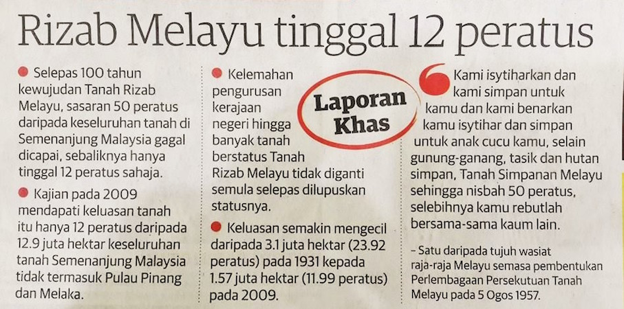 Tanah Rizab Melayu dah pupus ke?
